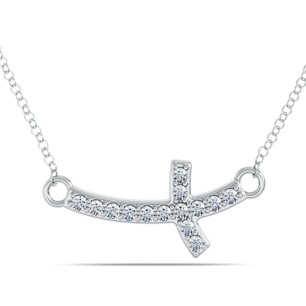 Bixlers Bixler 1785 Classics Diamond Cross Necklace In Sterling Silver