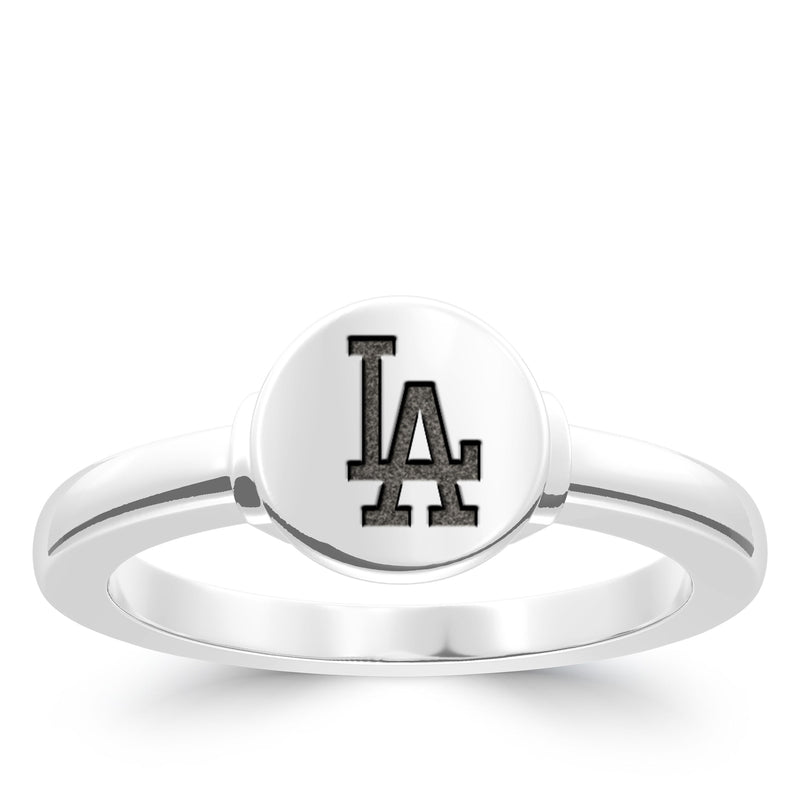Los Angeles Dodgers Logo Engraved Ring In Sterling Silver
