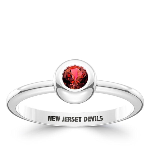 New Jersey Devils Ruby Engraved Ring In Sterling Silver