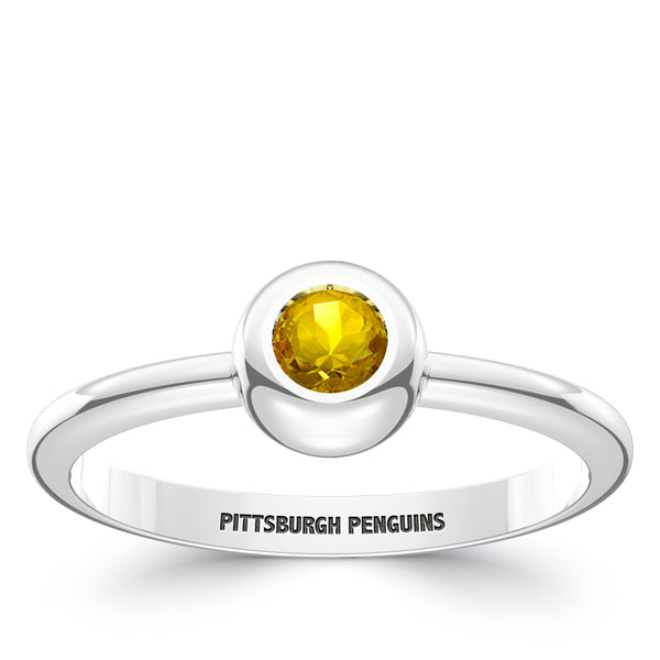 Pittsburgh Penguins Yellow Sapphire Engraved Ring In Sterling Silver