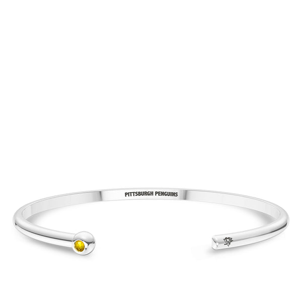 Pittsburgh Penguins Yellow Sapphire Engraved Cuff Bracelet In Sterling Silver