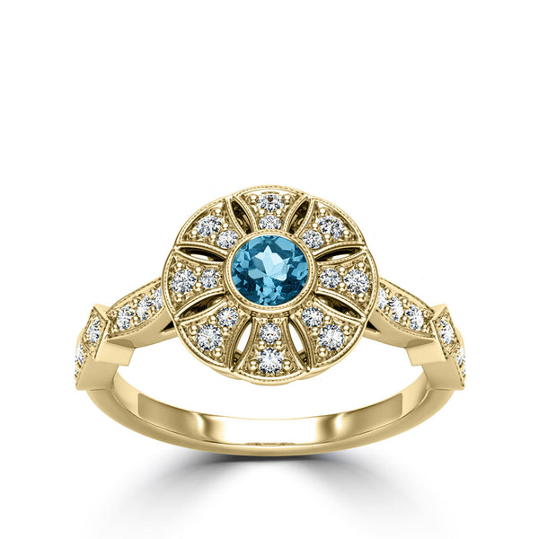 Bixlers Easton Diamond Flower Milgrain Ring In 14K Yellow Gold