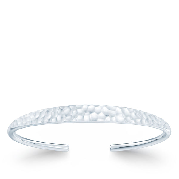 Bixlers Simplicity Diamond Hammered Finish Cuff In 14K White Gold