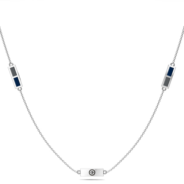 Winnipeg Jets Triple Station Necklace In Sterling Silver