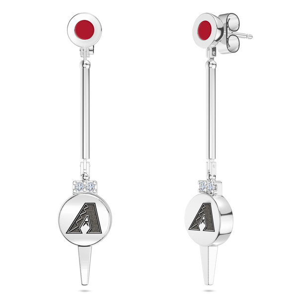 Arizona Diamondbacks Diamond Logo Engraved Enamel Dangle Earring In Sterling Silver