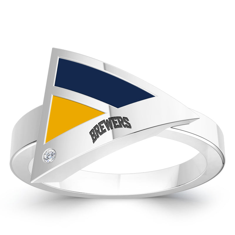 Milwaukee Brewers Diamond Engraved Geometric Ring In Sterling Silver