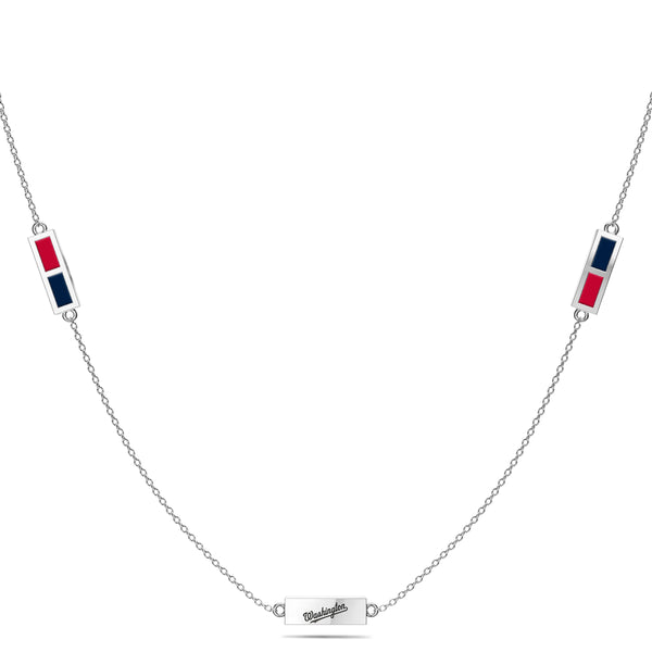 Washington Nationals Triple Station Necklace In Sterling Silver