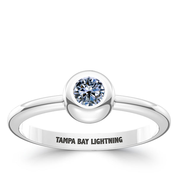 Tampa Bay Lightning White Sapphire Engraved Ring In Sterling Silver