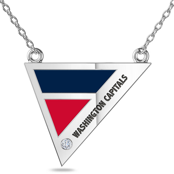 Washington Capitals Geometric Necklace In Sterling Silver