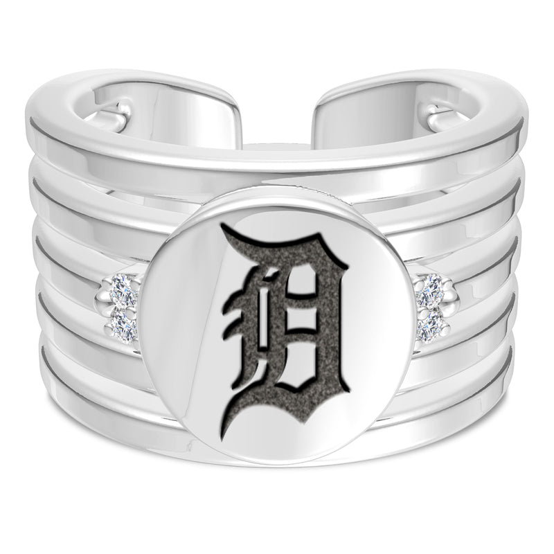 Detroit Tigers Diamond Logo Engraved Multiband Ring In Sterling Silver