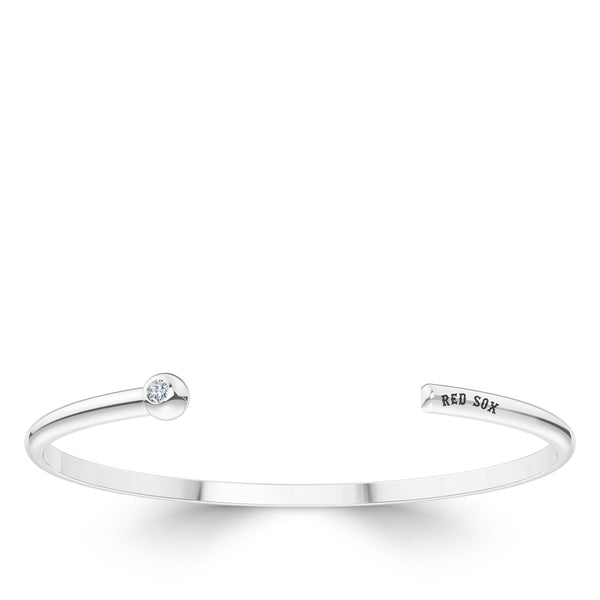 Boston Red Sox Diamond Engraved Cuff Bracelet In Sterling Silver