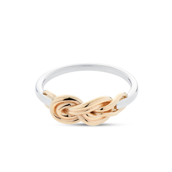 Bixlers Nautical Diamond Knot Ring In Sterling Silver & 14K Yellow Gold