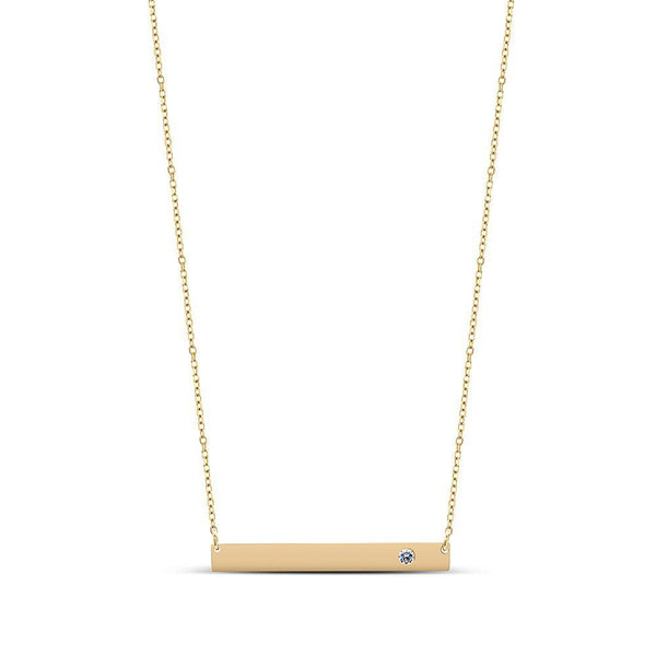 Bixlers Expressions Diamond Bar Necklace In 14K Yellow Gold
