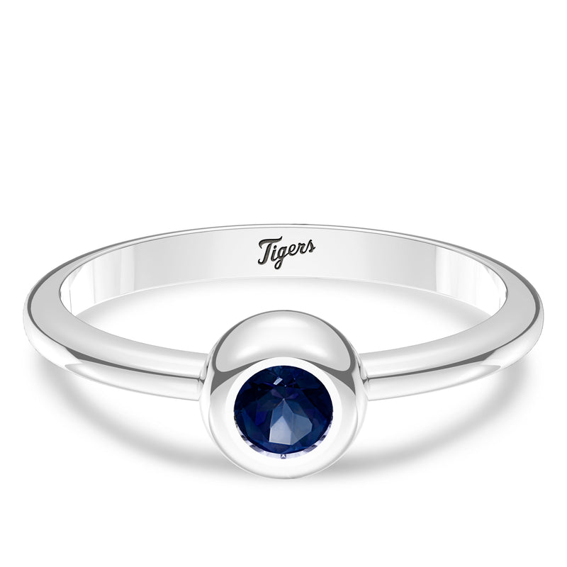 Detroit Tigers Sapphire Engraved Ring In Sterling Silver