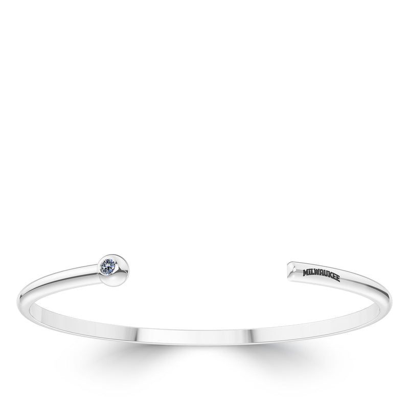Milwaukee Brewers White Sapphire Engraved Cuff Bracelet In Sterling Silver