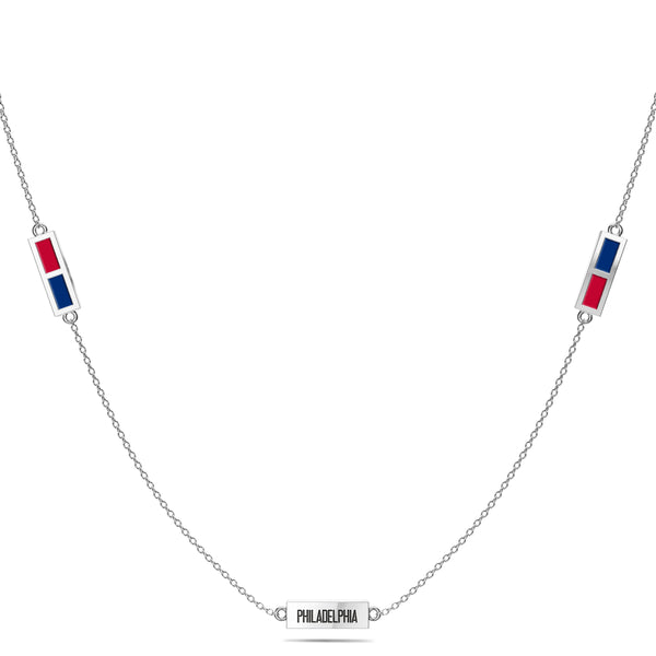 Philadelphia Phillies Triple Station Necklace In Sterling Silver