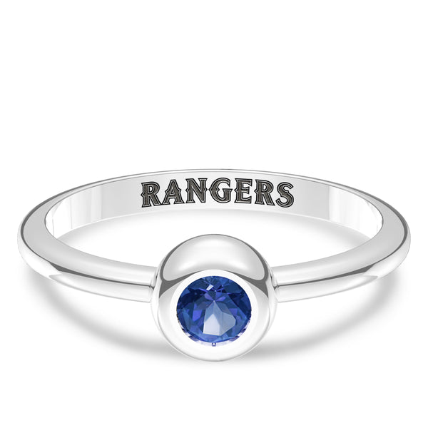 Texas Rangers Sapphire Engraved Ring In Sterling Silver