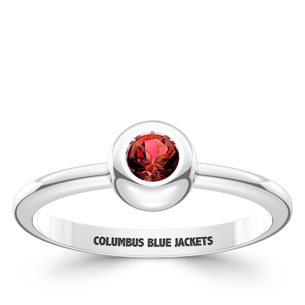 Columbus Blue Jackets Ruby Engraved Ring In Sterling Silver