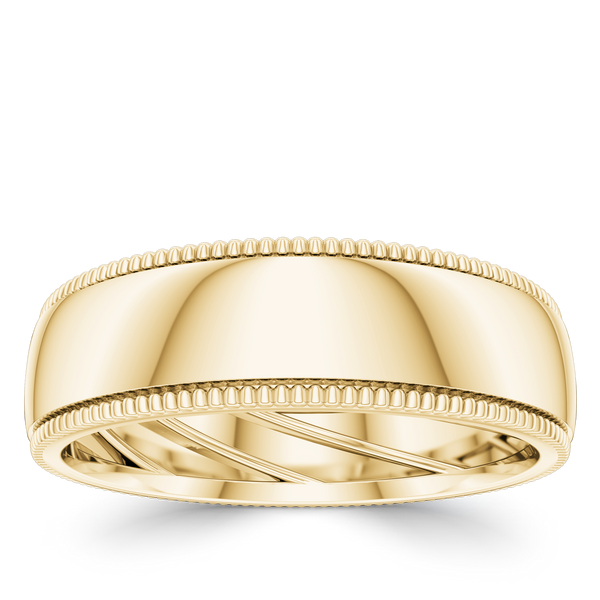 Bixlers Domed Wedding Band In 14K Yellow Gold