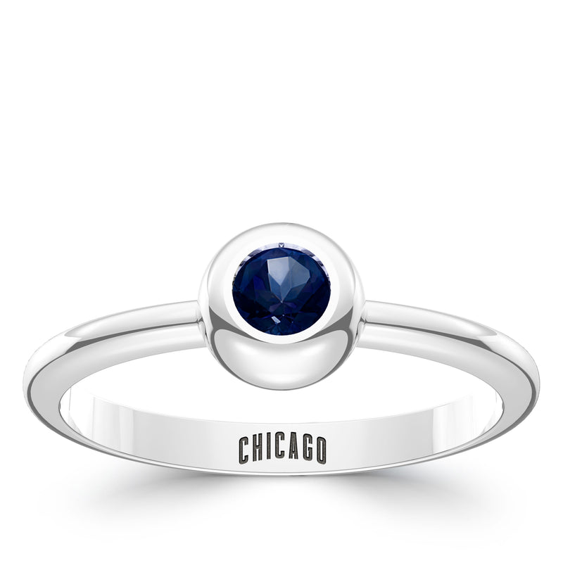 Chicago Cubs Sapphire Engraved Ring In Sterling Silver