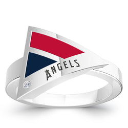 Los Angeles Angels Diamond Engraved Geometric Ring In Sterling Silver
