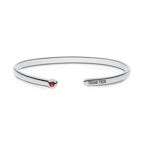 Texas Tech University Ruby Engraved Cuff Bracelet In Sterling Silver