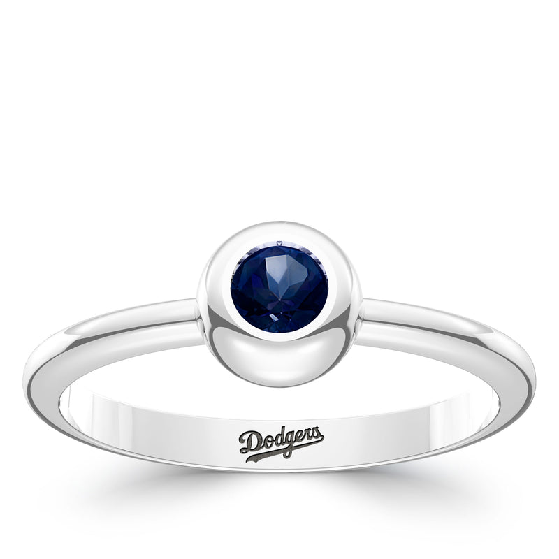 Los Angeles Dodgers Sapphire Engraved Ring In Sterling Silver
