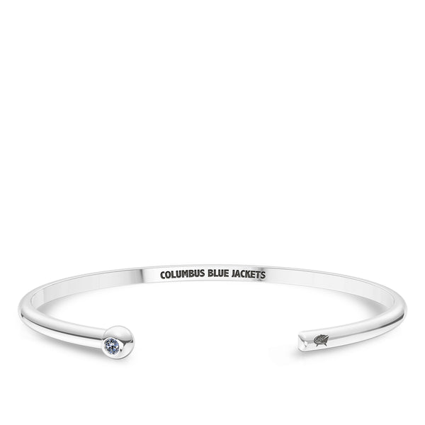 Columbus Blue Jackets White Sapphire Engraved Cuff Bracelet In Sterling Silver