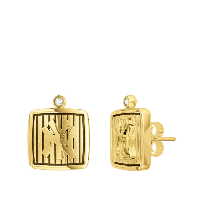 New York Yankees Pinstripe Logo Stud Earring In 14K Yellow Gold