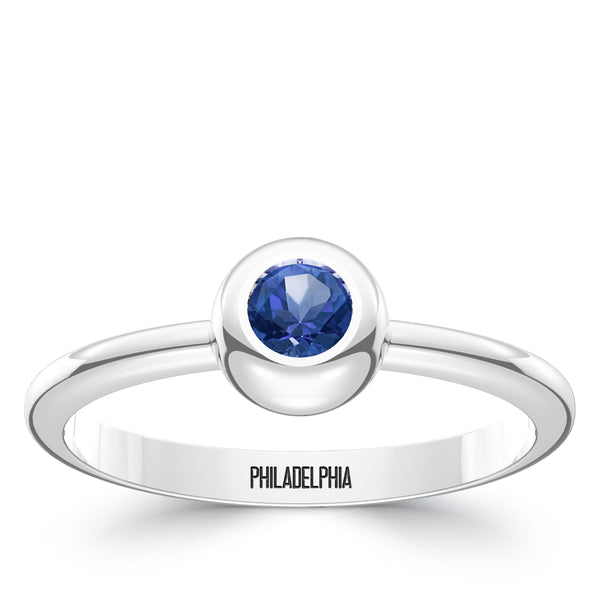 Philadelphia Phillies Sapphire Engraved Ring In Sterling Silver