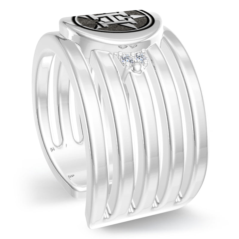 Houston Astros Diamond Logo Engraved Multiband Ring In Sterling Silver