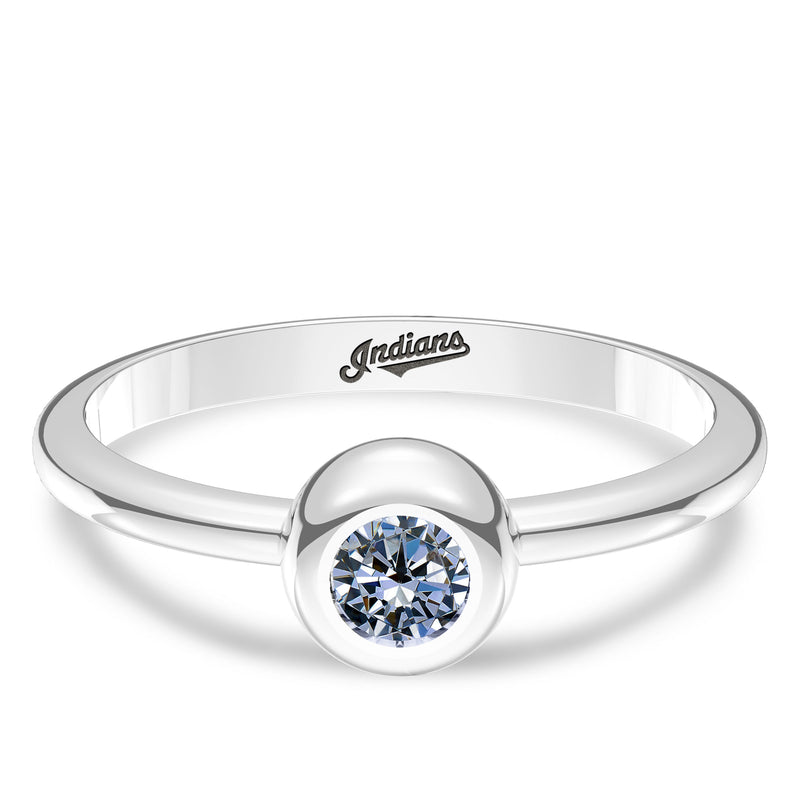 Cleveland Indians White Sapphire Engraved Ring In Sterling Silver