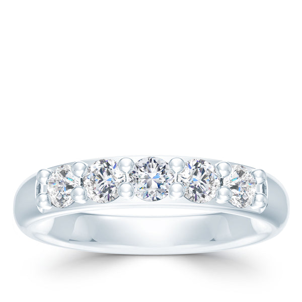 Bixlers 5 Stone Diamond Shared Prong Wedding Band In 14K White Gold