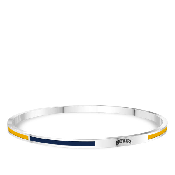Milwaukee Brewers Engraved Two-Tone Enamel Bracelet In Sterling Silver