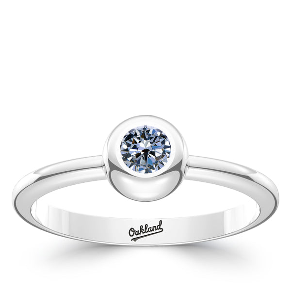 Oakland Athletics White Sapphire Engraved Ring In Sterling Silver