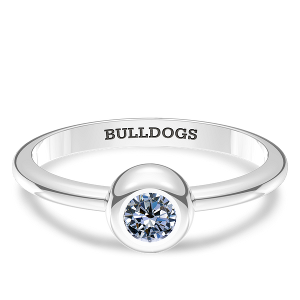 Yale University White Sapphire Engraved Ring In Sterling Silver