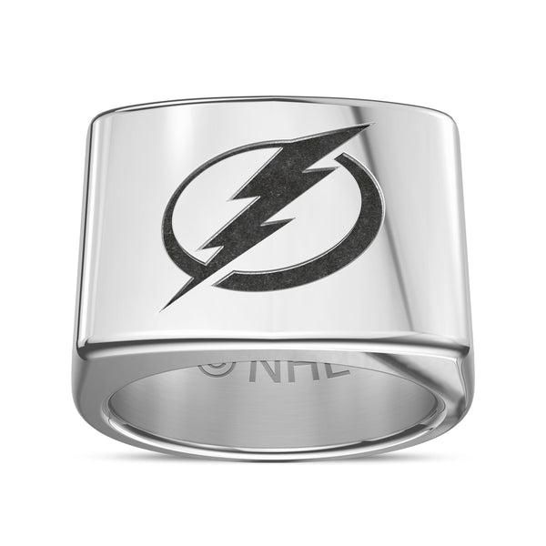 Tampa Bay Lightning Engraved Logo Ring In Sterling Silver