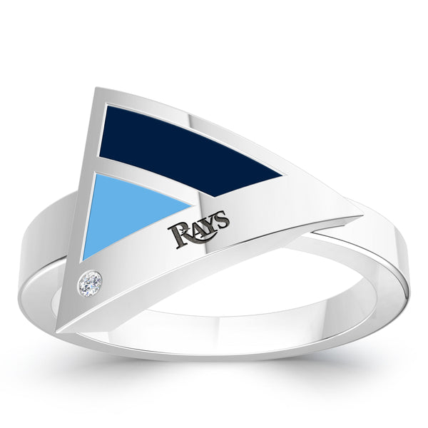 Tampa Bay Rays Diamond Engraved Geometric Ring In Sterling Silver