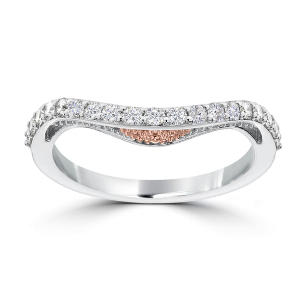 Bixlers Prong Set Diamond Contour Wedding Band In 14K White Gold & 14K Rose Gold
