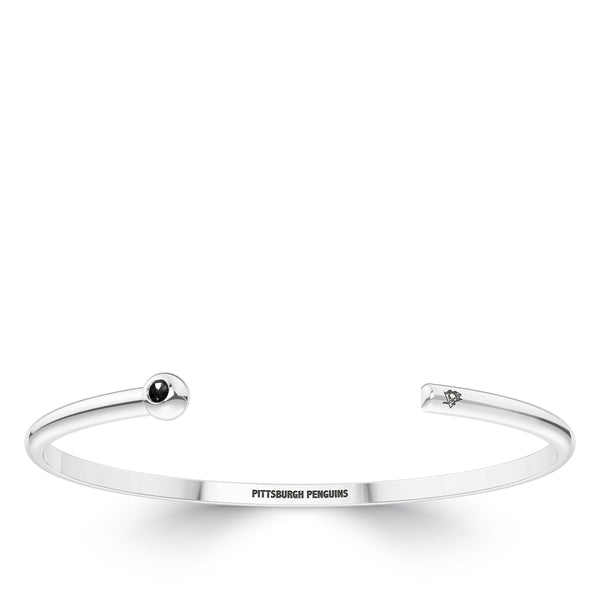 Pittsburgh Penguins Onyx Engraved Cuff Bracelet In Sterling Silver