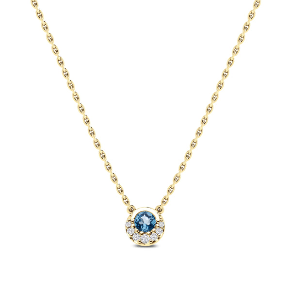 Bixlers Easton Diamond Crescent Halo Necklace In 14K Yellow Gold