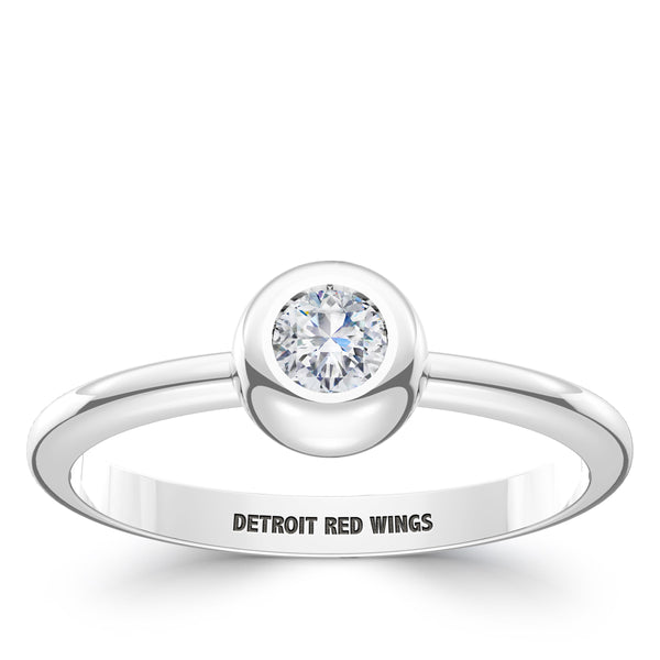 Detroit Redwings Diamond Engraved Ring In Sterling Silver
