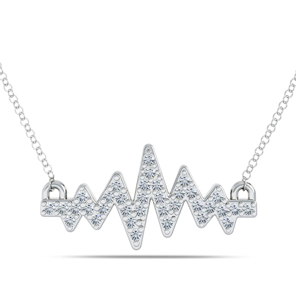 Bixlers Pure Love Diamond Heartbeat Necklace In Sterling Silver