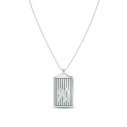 New York Yankees Cable Pinstripe Dog Tag Necklace In 14K White Gold