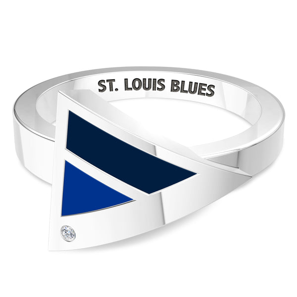 St. Louis Blues Diamond Engraved Geometric Ring In Sterling Silver