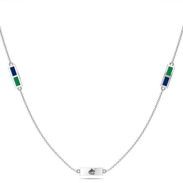 Vancouver Canucks Triple Station Necklace In Sterling Silver