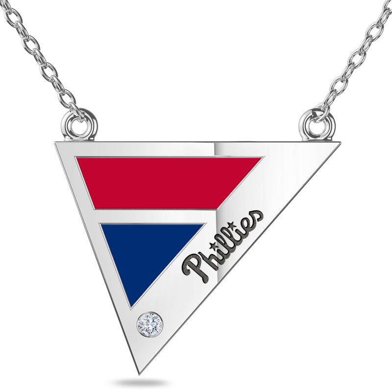 Philadelphia Phillies Geometric Necklace In Sterling Silver