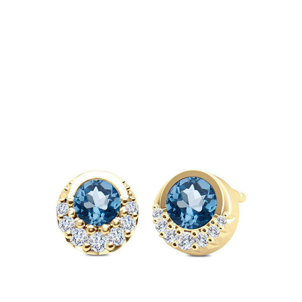 Bixlers Easton Diamond Crescent Halo Earring In 14K Yellow Gold