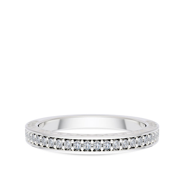 Bixlers Prong Set Diamond Engraved Motif Wedding Band In 14K White Gold