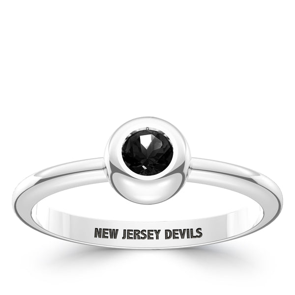 New Jersey Devils Onyx Engraved Ring In Sterling Silver